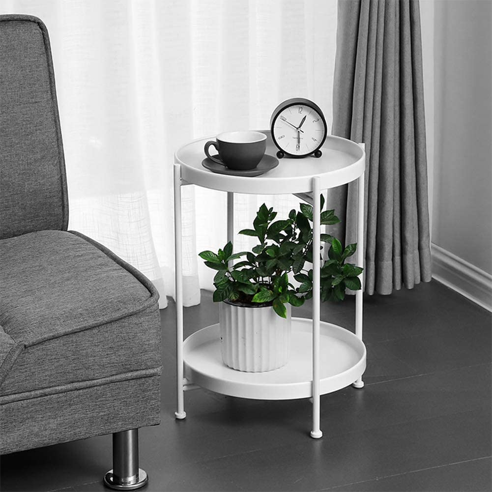 Super ZRRtables Nordic 2-dier zijtafel, metalen bijzettafel dubbellaags ronde salontafel opvouwbaar sofa bijzettafel bloemenstandaard voor woonkamer, 51 Ø×36 cm /20,08 Ø×14,17 inch C KYprS83