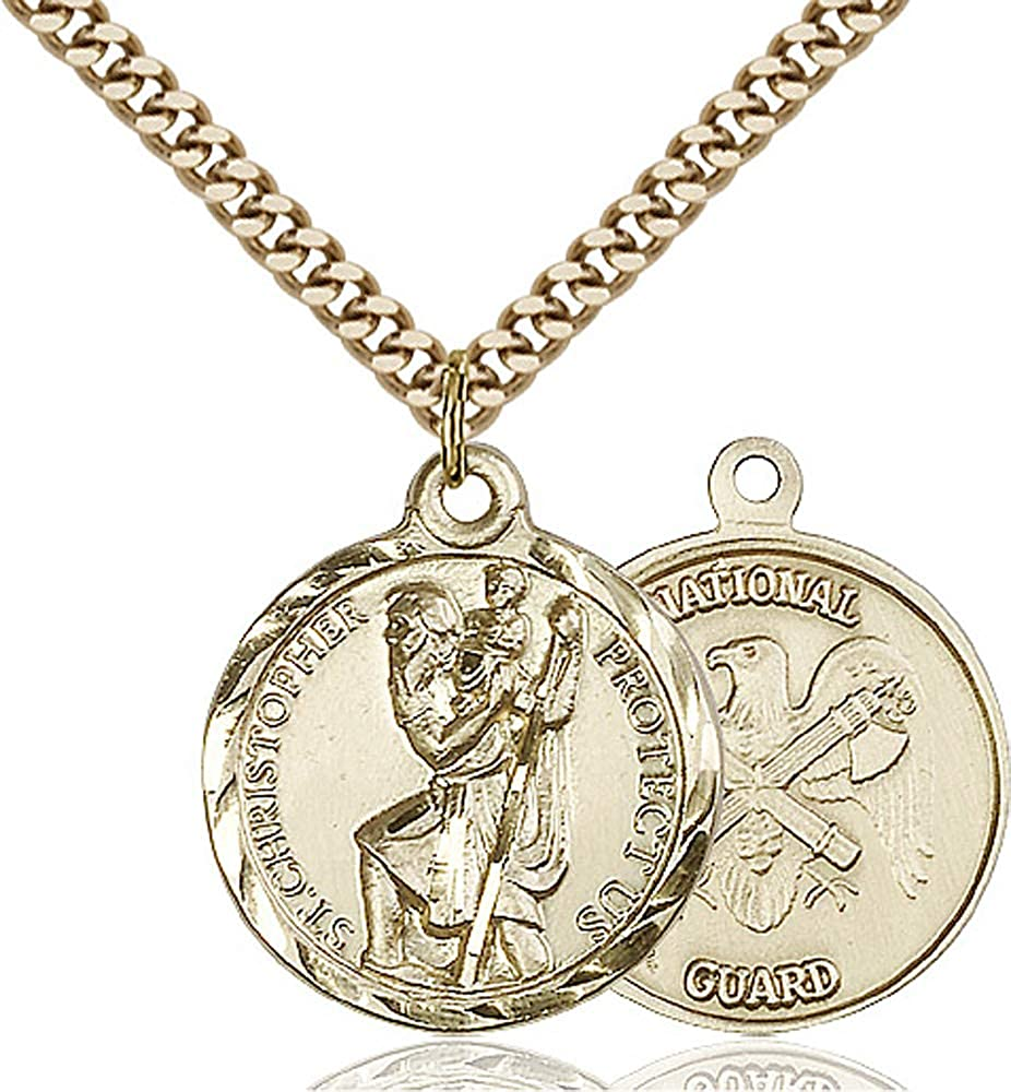 14kt Gold Filled St Gold Plate Heavy Curb Chain Patron Saint Travelers//Motorists 7//8 x 3//4 Christopher Pendant