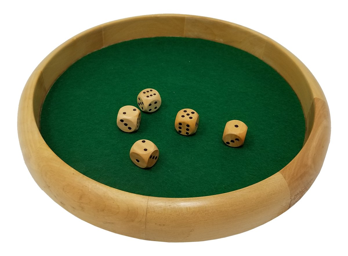 DA VINCI Economy Line of Wood Dice Rolling Tray with 5 Wooden Dice (12 Inch Round) by DA VINCI