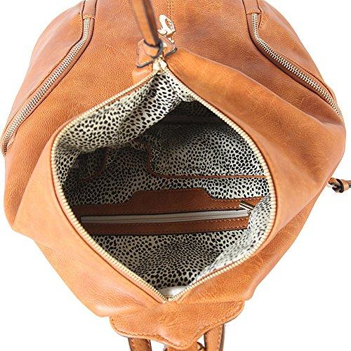 di tasche lati donna 052 PU con da in Diophy cerniera pelle entrambi AB borsa Zaino Borsa con moda i Cognac di su dwx6d8