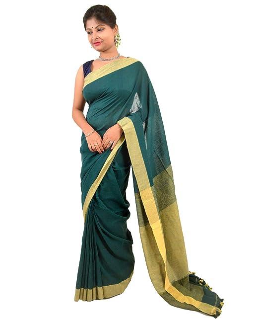 b1b994f1706 NisujFashion Pure Handloom Khadi Cotton Saree Green   Biege with pompom   Amazon.in  Clothing   Accessories