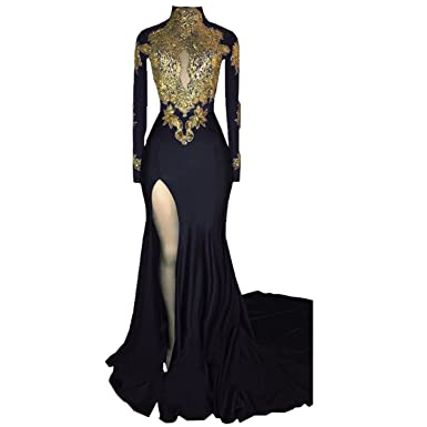 KapokBanyan Mermaid High Neck Long Sleeves Prom Dress 2018 New Gold Appliques Split Evening Gowns