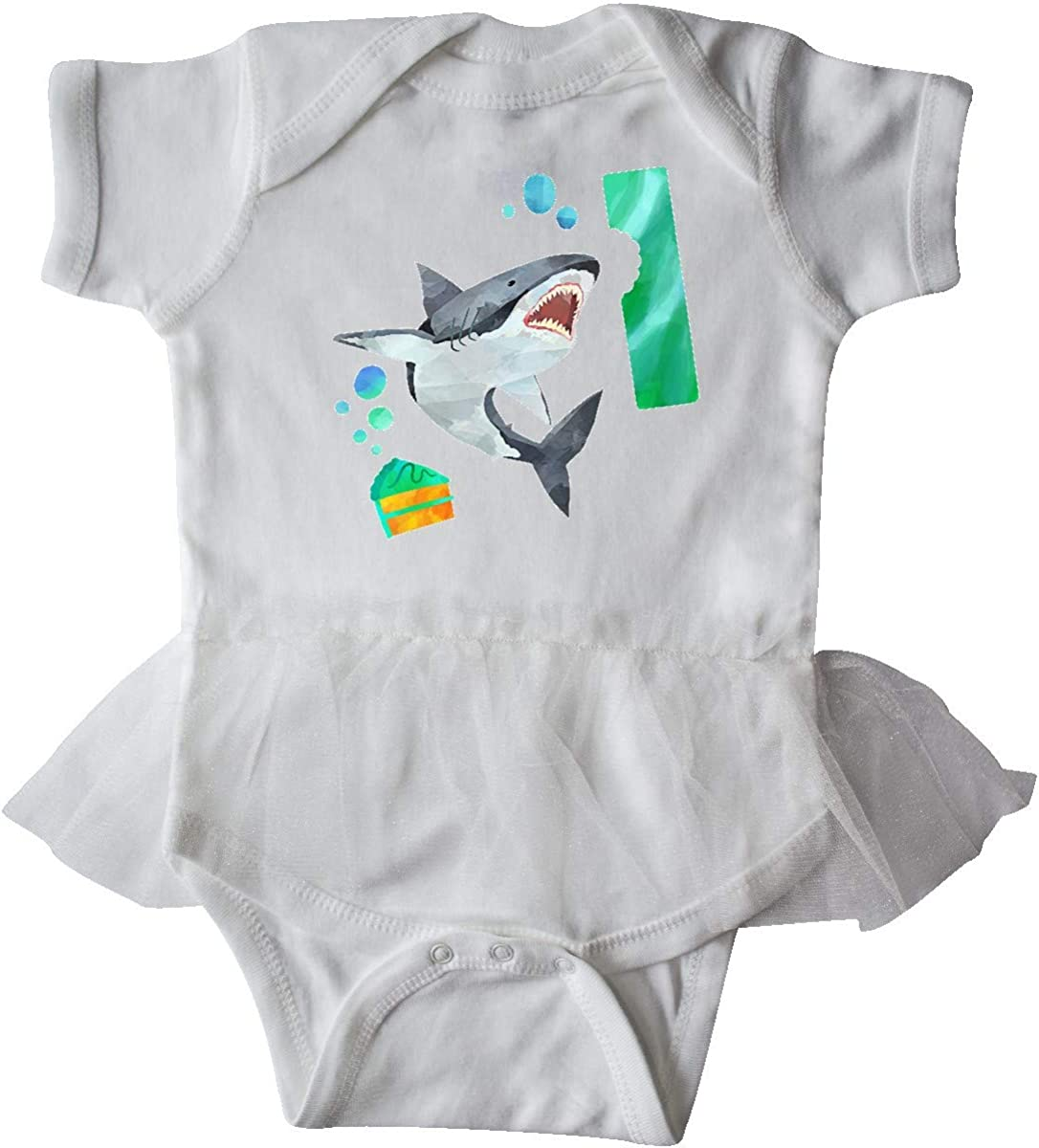 inktastic 1st Birthday Shark with Cake Infant Tutu Bodysuit