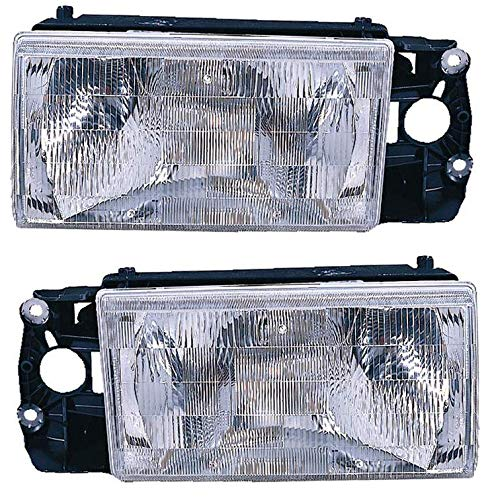 For 1990 1991 1992 Volvo 740 | 940 Headlights Headlamps Driver Left and Passenger Right Side Pair Set Replacement VO2502106 VO2503106 ()