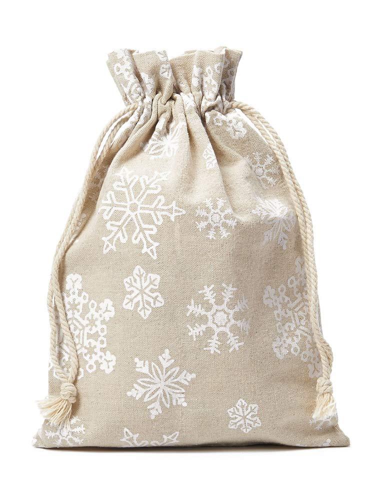 12 Adventskalender-Beutel mit Baumwoll-Kordel u. Schneeflocken-Motiv. Größe 20x12 cm (Höhe x Breite) Adventskalender & Weihnachtsverpackung aus Leinen-Säckchen, Leinenbeutel organzabeutel24