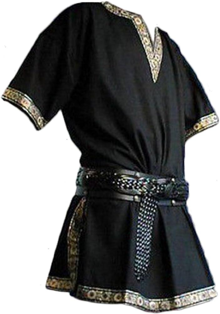 Manga Corta Medieval de Los Hombres Tunica Medieval Camisa con Cuello en V Sin Correa Negro, M: Amazon.es: Ropa y accesorios