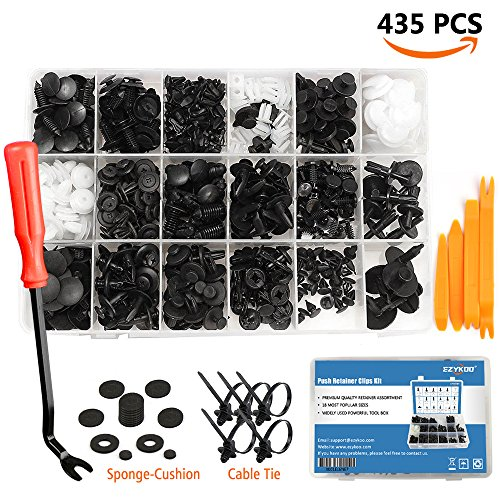 Fastener Replacement Kit (EZYKOO 435 Pcs Car Retainer Clips & Plastic Fasteners Kit - 19 MOST Popular Sizes Auto Push Pin Rivets Set -Door Trim Panel Clips For GM Ford Toyota Honda Chrysler)