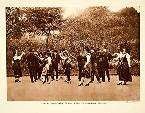 1932 Photolithograph Alsace Traditional Folk Dance French Costume Dancers AEC3 - Orig.