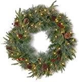 National Tree 24in Real Colonial Wreath + Dual Color LED Lights