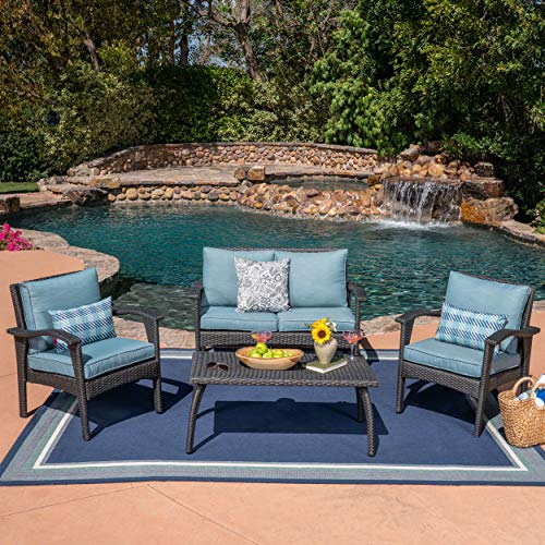 Christopher Knight Home 304148 Louise Outdoor 4 Seater Wicker Chat Set Water Resistant, Grey Teal Cushion