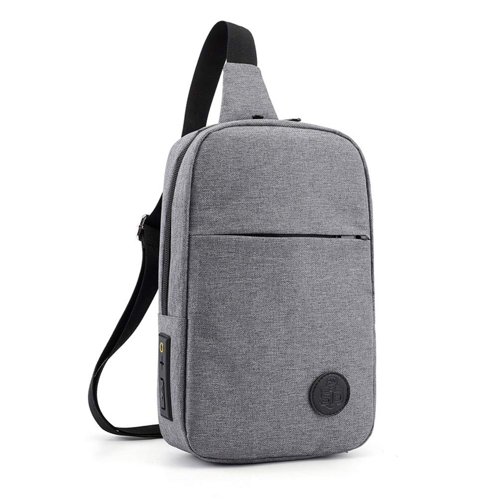 Anti-Theft Men and Women Outdoor Sports Messenger Shoulder Bag Fitness Bag Gray with USB Charging Port Earphone Piercing TFGCL Sling Chest Bag