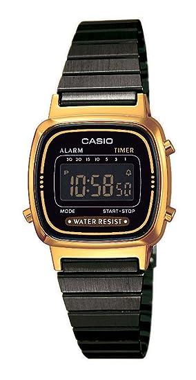 Casio Reloj Digital para Mujer de Cuarzo con Correa en Acero Inoxidable LA670WEGB-1BEF: Amazon.es: Relojes