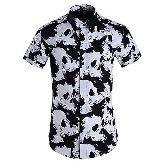 Camisa casual de los hombres Camisa de manga corta con estampado ...