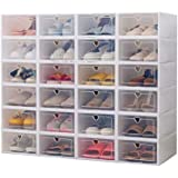 Clear Plastic Shoe Storage Transparent Stackable Organizer box (White 24PCS)