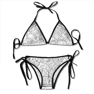 Ropa deportiva Astronomy Womens Tie Side Bottom Bikini Suits Two Pieces Swimwear