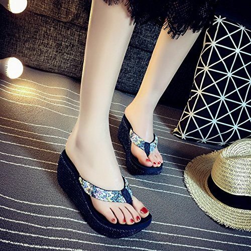 FEI Mules Female Summer Non-slip Thick Bottom Fashion Slippers Beach Cool Slippers (6.5cm) Sandals Casual (Color : Light Brown, Size : EU38/UK5.5/CN38) Dark blue
