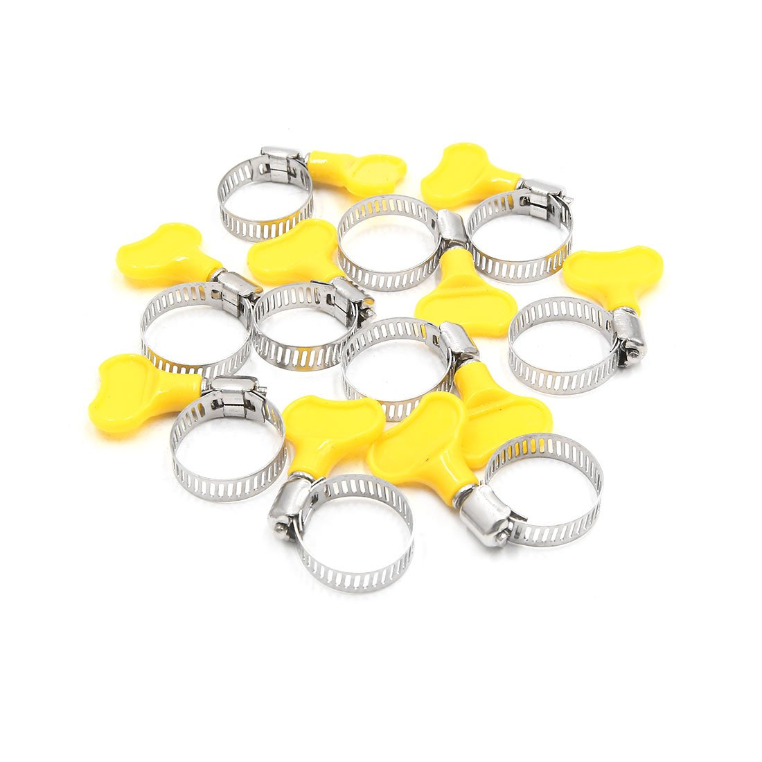 sourcingmap 16Pcs Stainless Steel Adjustable Car Fuel Hose Clamp Clip 6-12mm