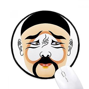 DIYthinker Máscara de la ópera de Pekín colorido Zhuihanxin Ronda antideslizante tapetes de ratón Negro Titched