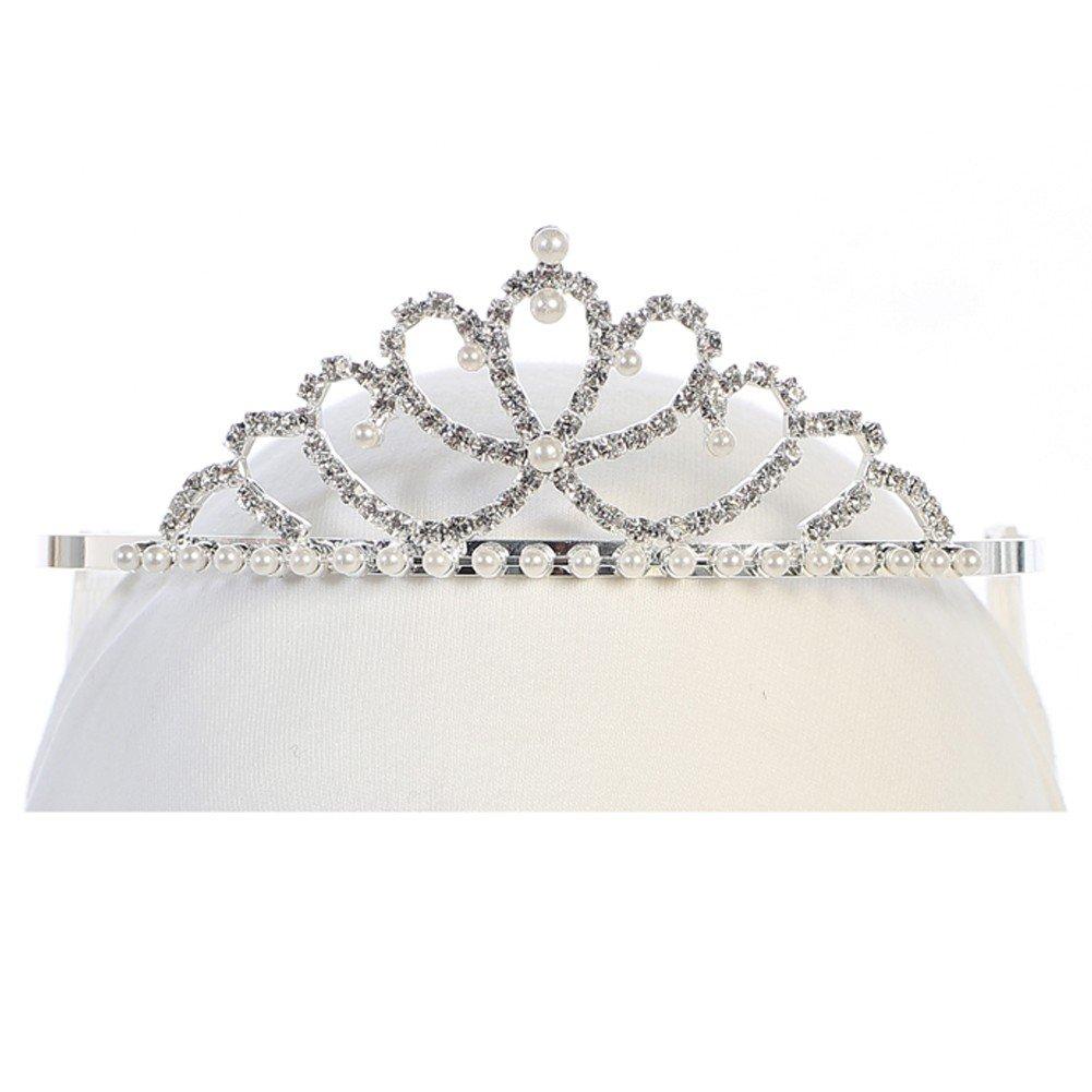 Angels Garment Girls Silver Tone Glitter Rhinestone Pearl Adorned Tiara