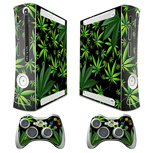 XBOX 360 Console weeds Design Decal Skin - System & Remote Controllers - Weeds - Black (Xbox 360 Vinyl Skin)