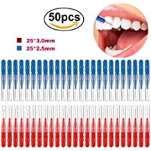 UEETEK 50pcs 2.5mm Dental Orthodontic Oral Care Interdental Toothpick Between Teeth Brush Kit