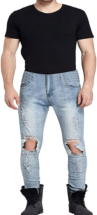 Casual Pants Street Style Six Color Elastic Jeans Pencil High Stretch Skinny Men