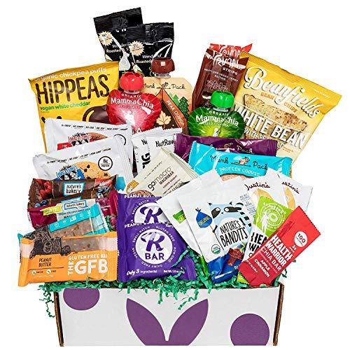 Deluxe Vegan Protein Snacks Box: Mix of Healthy Vegan Protein Bars, Cookies, Vegan Jerky, Chips & Nuts Health Care Package Gift Box (30 Count) (Best Healthy Vegan Snacks)
