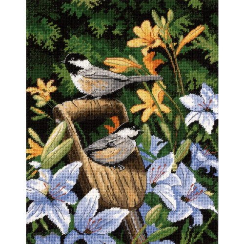 Lilies Needlepoint - Dimensions Needlecrafts Needlepoint, Chickadees and Lilies