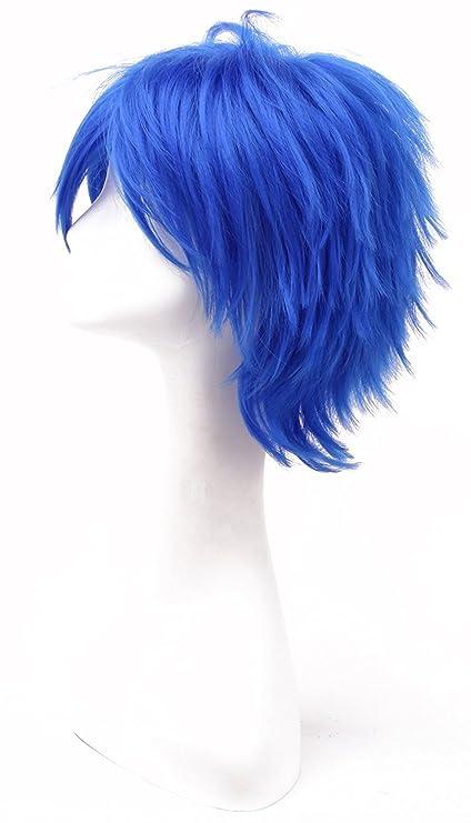 iLoveCos Coser Cosplay-Prop Vocaloid Kaito Cosplay Azul Corta Pelo Halloween Party Disfraz Peluca de
