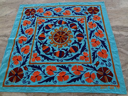 - Handicraftofpinkcity Suzani Embroidered Tapestry Suzani Embroidered Wall Hanging Suzani Embroidered Table Runner 44x44'' Tapestry Throw Ssth05