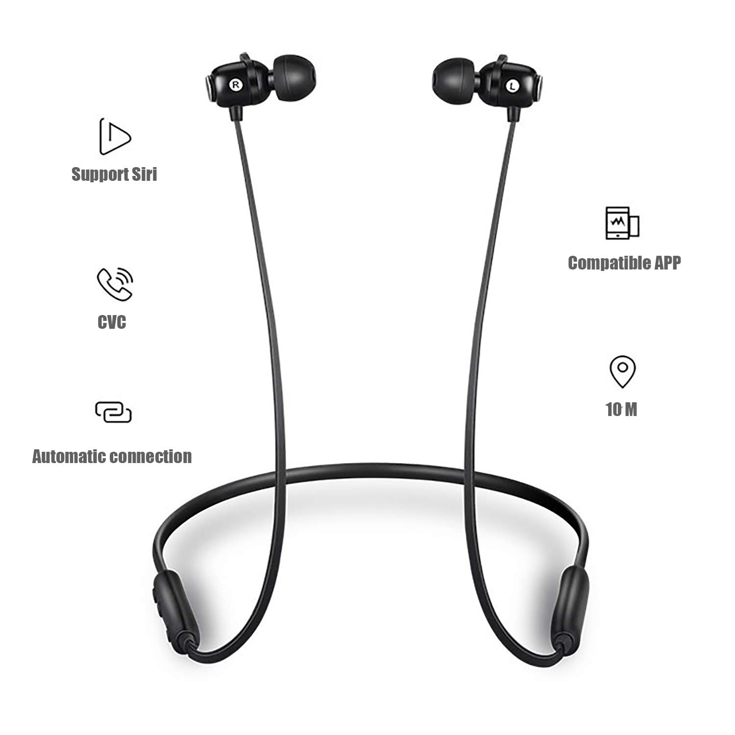 Bluetooth Headphones,Wireless Earbuds Bluetooth 5.0, IPX5 Waterproof,Magnetic,HiFi Bass Stereo Sweatproof Earbuds w Mic, Noise Cancelling Headset for Workout, Running, Gym, 8 Hours Play Time