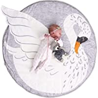 Abreeze Swan Baby Round Play Pad Crawling Mat Crawl Cushion Air-Conditioned Rug for Kids Children Toddlers Bedroom