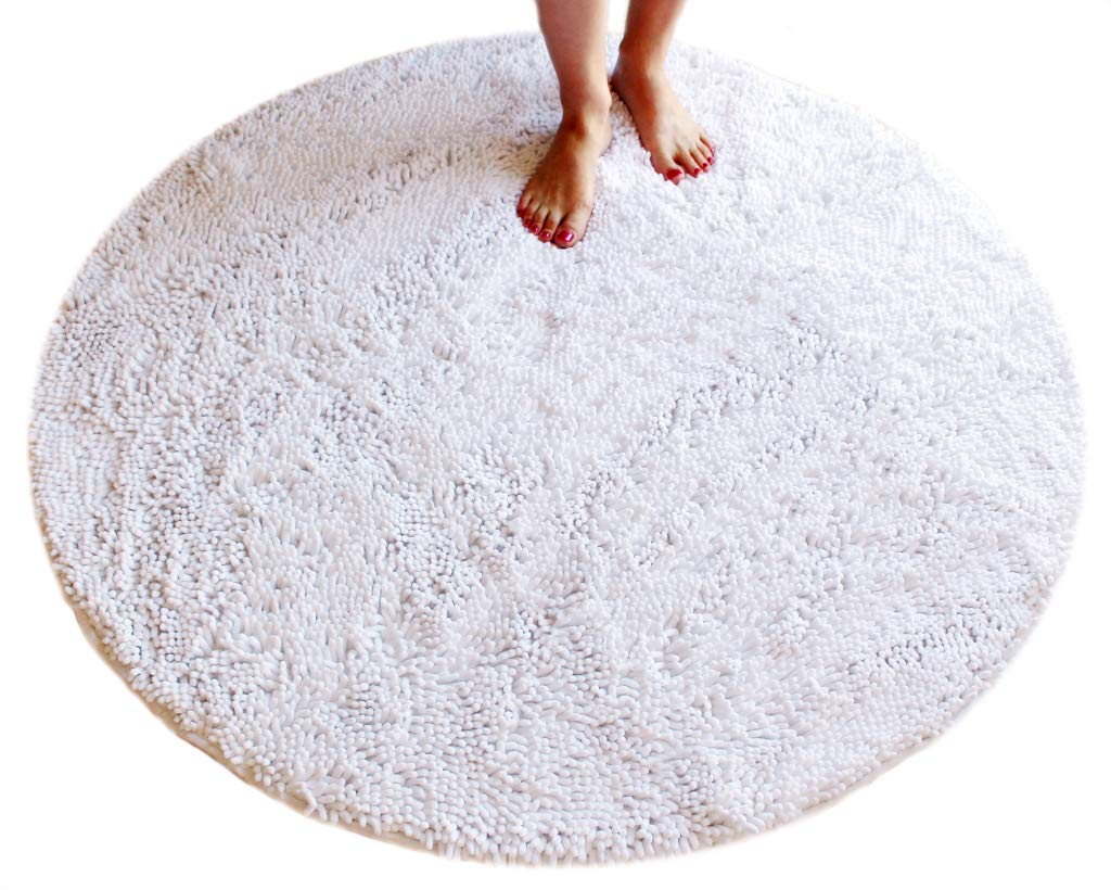 Masada Rugs, Pure White Bath Mat Rug Shag Non Slip Ultra Plush Microfiber Chenille Highly Water Absorbent Durable and Washable for Bathroom. (4 Feet Round, White)