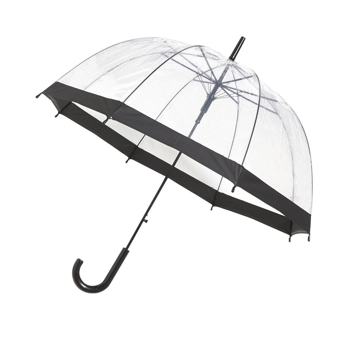 Paraguas Automatico Transparente en forma de cupula con borde negro Ambiance-Live Group