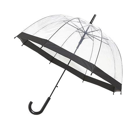 Paraguas Automatico Transparente en forma de cupula con borde negro