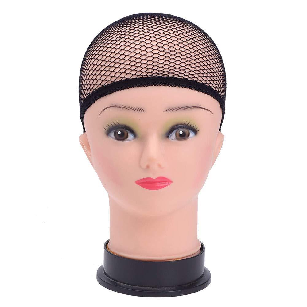 3 Pc Wig Caps Elastic Stocking Wig Liner Cap Nylon Stretch Mesh Nylon Caps Mesh (Black)