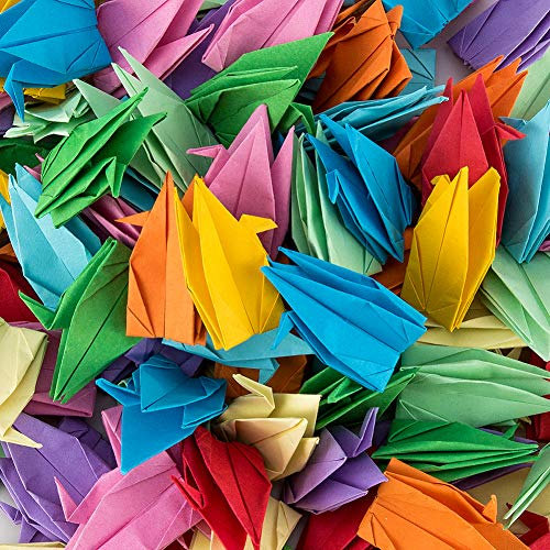 PARBEE 100 Pcs Folded Origami Paper Cranes, DIY Japanese Crane Mobile String Garland Hanging Bird Ornaments for Wedding Backdrop Decoration, Mixed Colors
