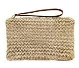 Agneta Women's Hand Wrist Type Straw Summer Beach Sea Handbag (Brown)