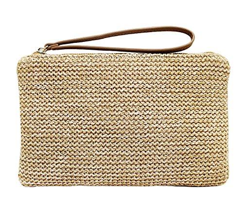 Agneta Women's Hand Wrist Type Straw Summer Beach Sea Handbag (Beach Wallet)