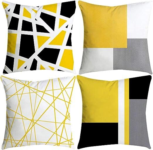 Sallydream- Fundas Cojines 45x45 Amarilla 4 Piezas Geometría Simple Moda Sofa Square Funda de Almohada Decoración del Hogar Oficina Coche Lugar de Ocio (A): Amazon.es: Hogar