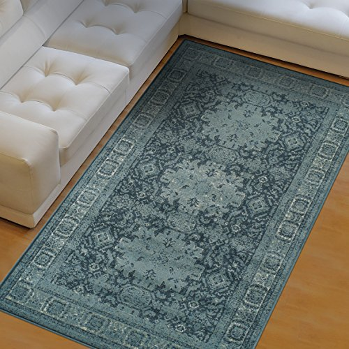 Superior Tatum Collection Area Rug, 10mm Pile Height with Jute Backing, Fashionable and Affordable Rugs, Vintage Oriental Kazak Rug Design – 4 x 6