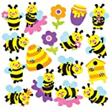 Baker Ross Bee Foam Stickers for Children to Decorate & Embellish Summer Collage Cards and Crafts (Pack of 120)