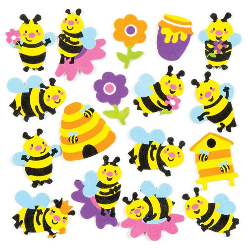 Bee Crafts For Kids - Baker Ross Bee Foam Stickers (Pack of 120) AC812, Backyard Themed Puffy Scrapbook Stickers in Fun Foam Shapes