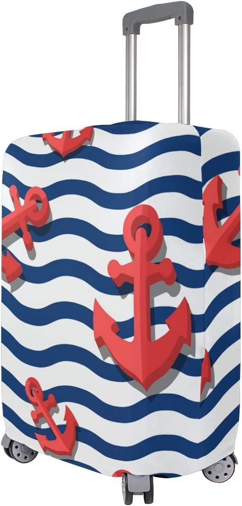 FOLPPLY Stripes Wave Nautical Anchor Luggage Cover Baggage Suitcase Travel Protector Fit for 18-32 Inch