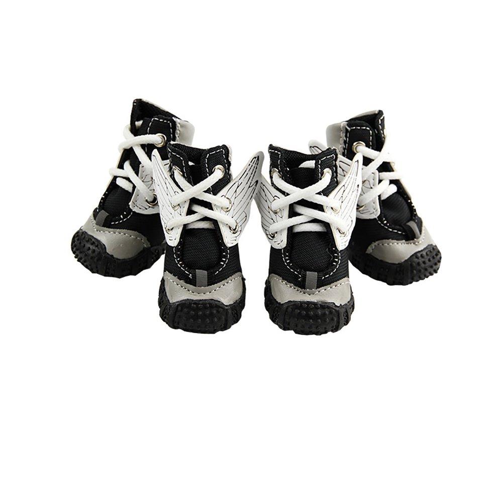 Pet Casual shoes,Non-slip Dog shoes Spring Summer Models Lace-up Wear-resistant Rubber Sole 4 PCS Small Dog Sport shoes 3 color & 5 Size (color   Black, Size   1 )