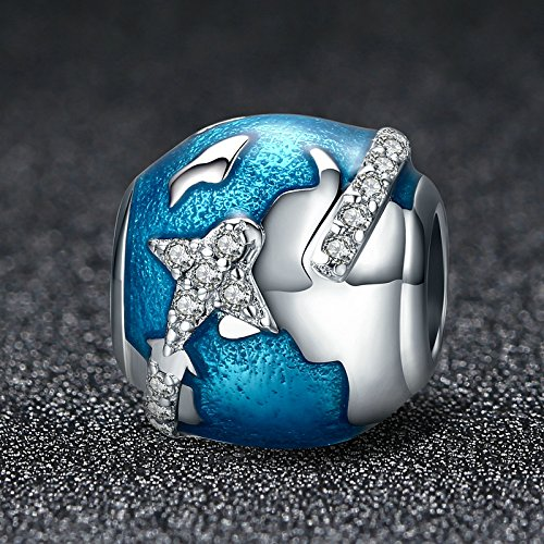 The Kiss Around the World Places of Interest Holiday Vacation Travel Enamel 925 Sterling Silver Bead Fits European Charm Bracelet (Blue Enamel)