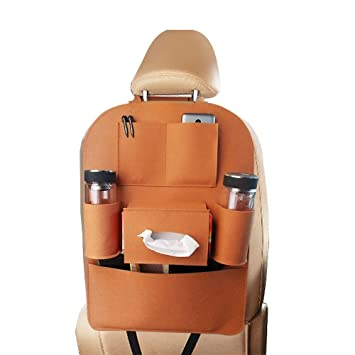 Swarish Car Back Seat Organizer Felt 6 Pocket IPad Storage Bag Multifunctional Automobile Backseat Travel