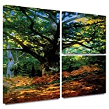 ArtWall 'Bodmer at Oak at Fontainebleau' 3-Piece Flag Gallery-Wrapped Canvas Art by Claude Monet, 24 by 36-Inch