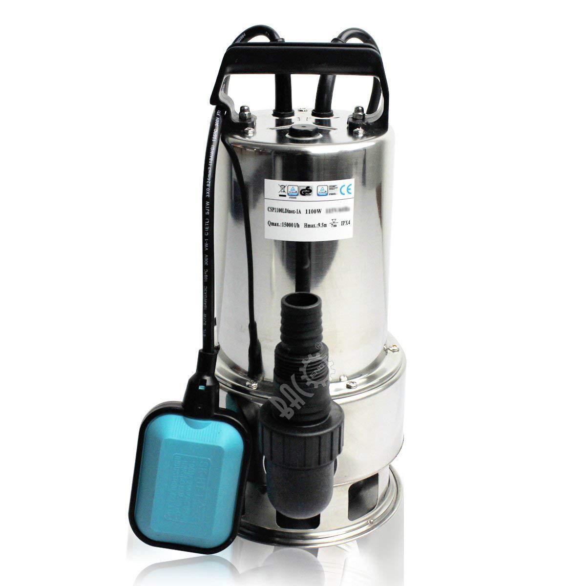 BACOENG Schmutz und Klarwasserpumpe Edelstahl Schmutzwasserpumpe mit Schwimmerschalter 15000L//h 1100 W