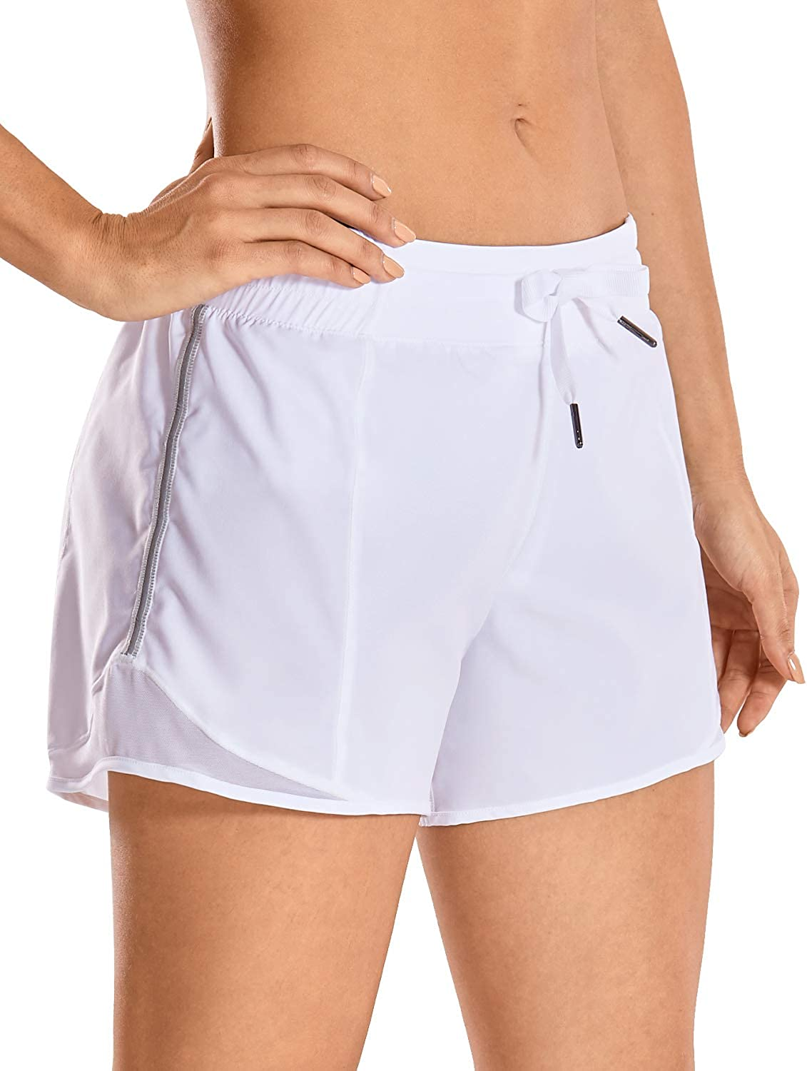 CRZ YOGA Quick-Dry Loose Running Shorts Women Sports Workout Shorts Gym Athletic Shorts with Pocket -4 Inches